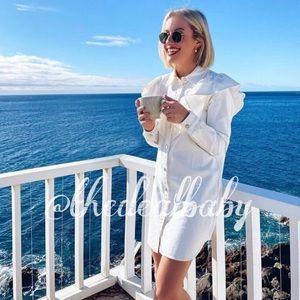 Zara White Ruffle Mini Denim Dress Long Sleeve